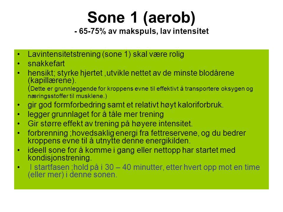 Sone 1 (aerob) - 65-75% av makspuls, lav intensitet