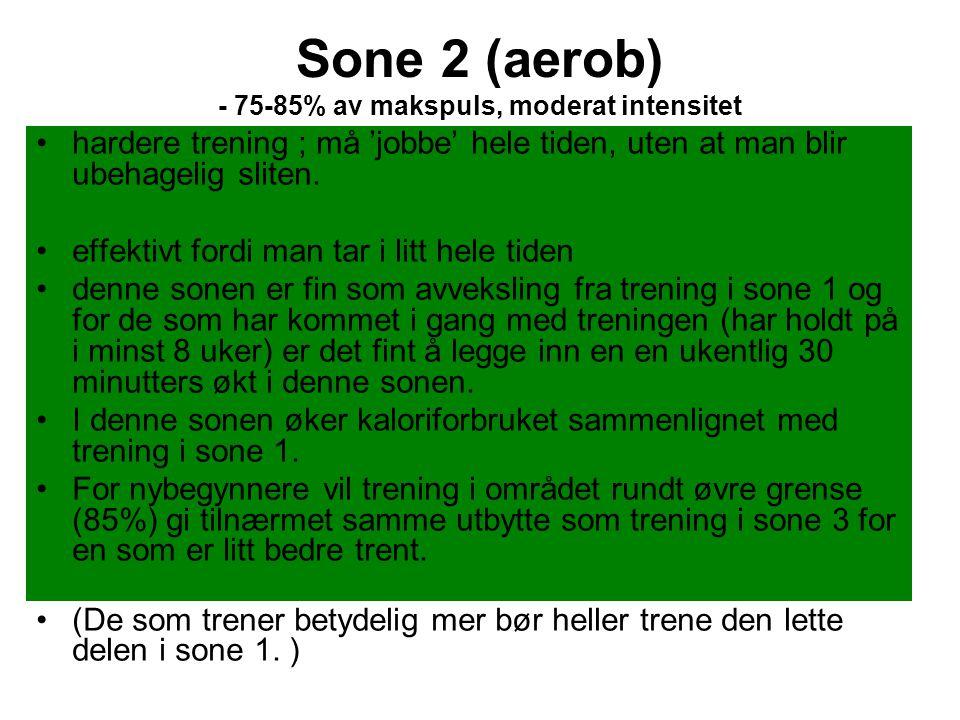 Sone 2 (aerob) - 75-85% av makspuls, moderat intensitet