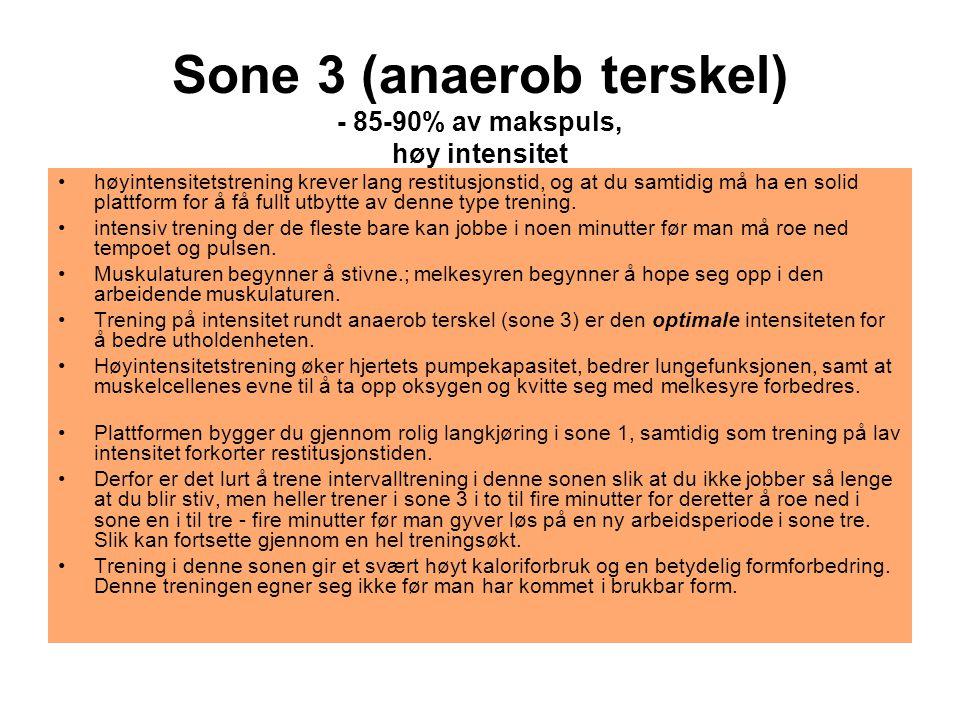 Sone 3 (anaerob terskel) - 85-90% av makspuls, høy intensitet