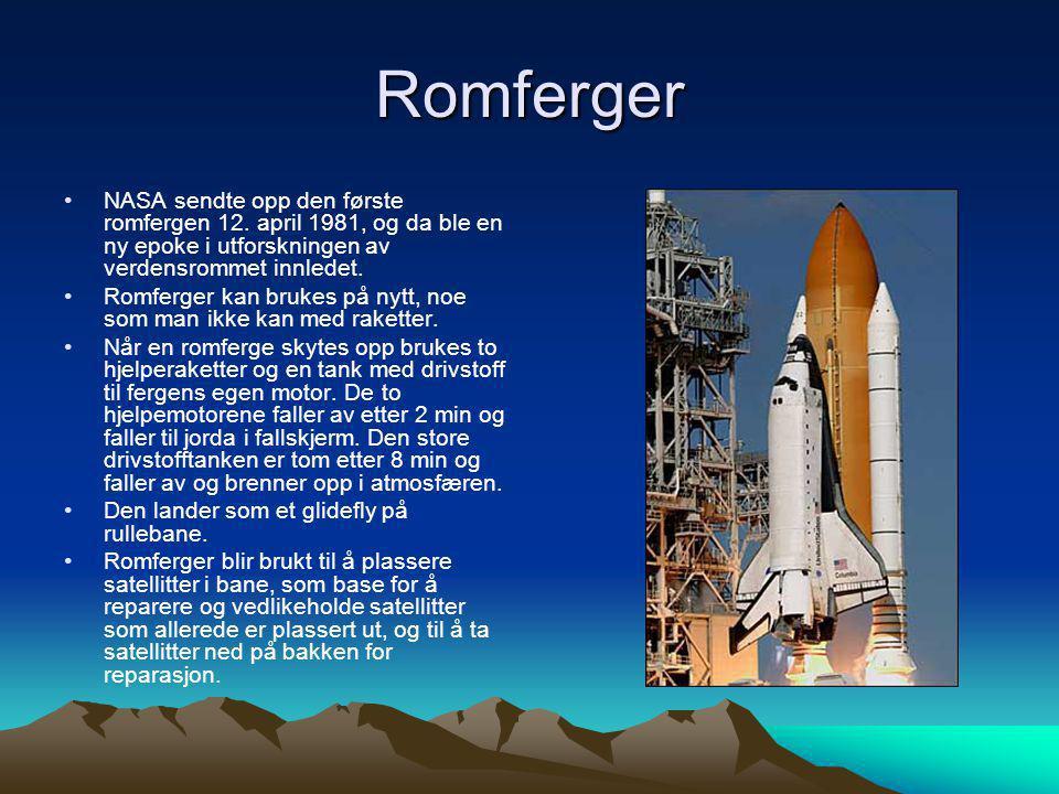 Romferger NASA sendte opp den første romfergen 12. april 1981, og da ble en ny epoke i utforskningen av verdensrommet innledet.