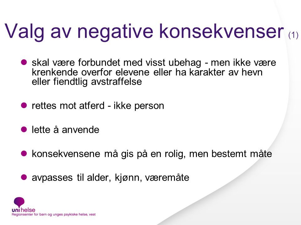 Valg av negative konsekvenser (1)