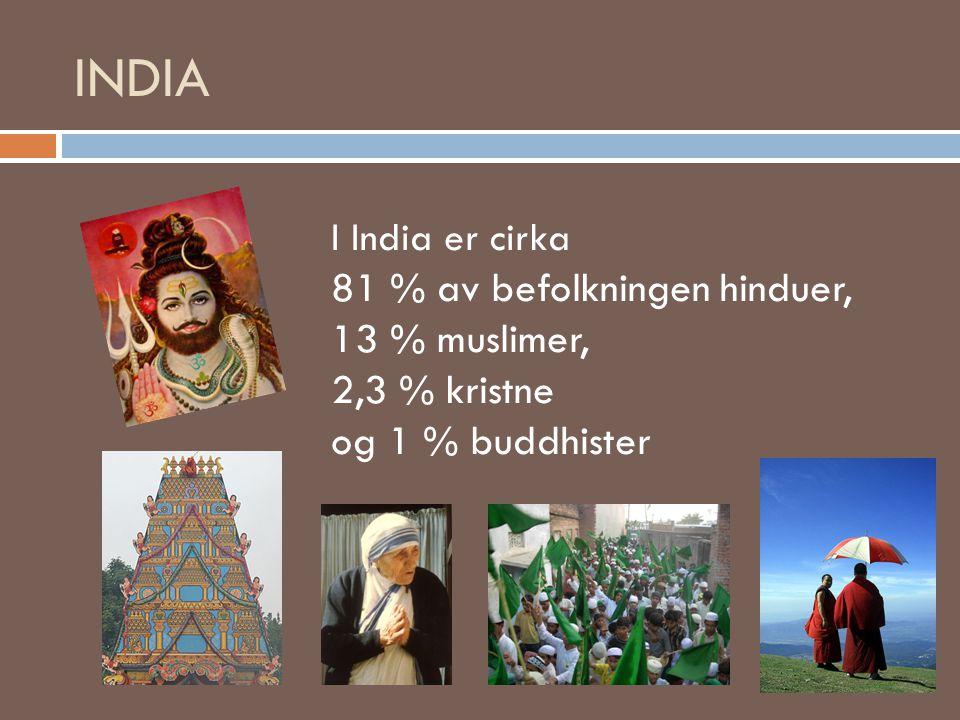 INDIA 81 % av befolkningen hinduer, 13 % muslimer, 2,3 % kristne