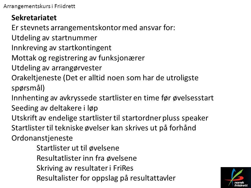 Er stevnets arrangementskontor med ansvar for: Utdeling av startnummer