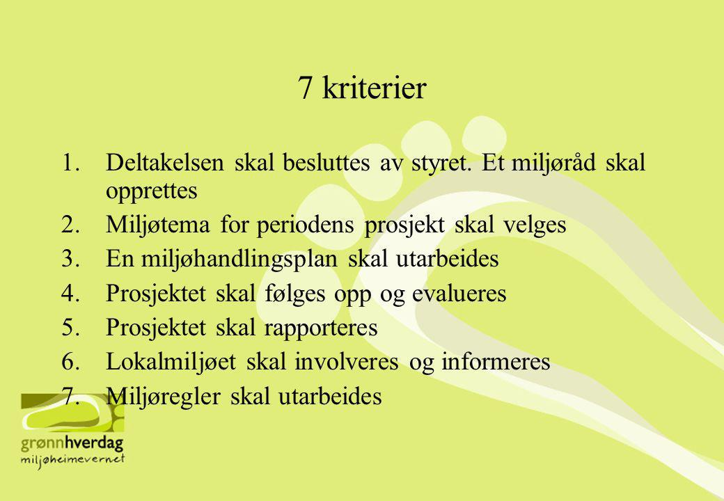 7 kriterier Deltakelsen skal besluttes av styret. Et miljøråd skal opprettes. Miljøtema for periodens prosjekt skal velges.