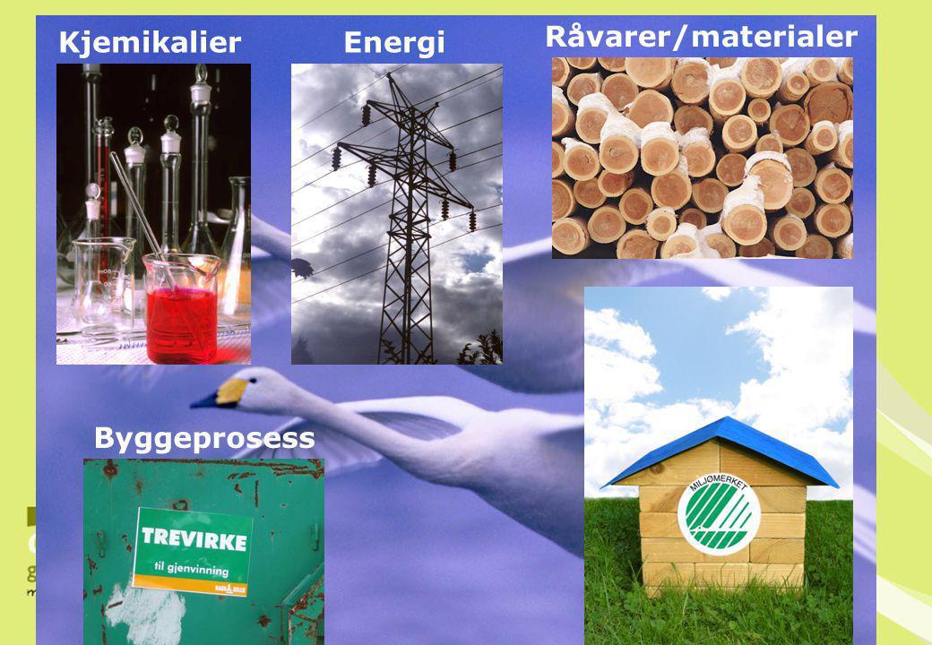Råvarer/materialer Kjemikalier Energi Byggeprosess