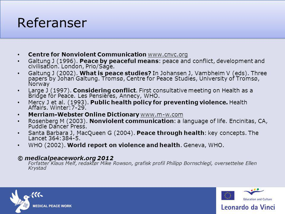 Referanser Centre for Nonviolent Communication