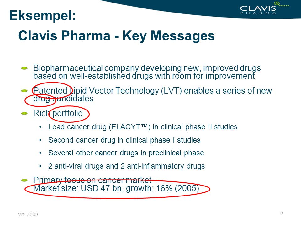Clavis Pharma - Key Messages