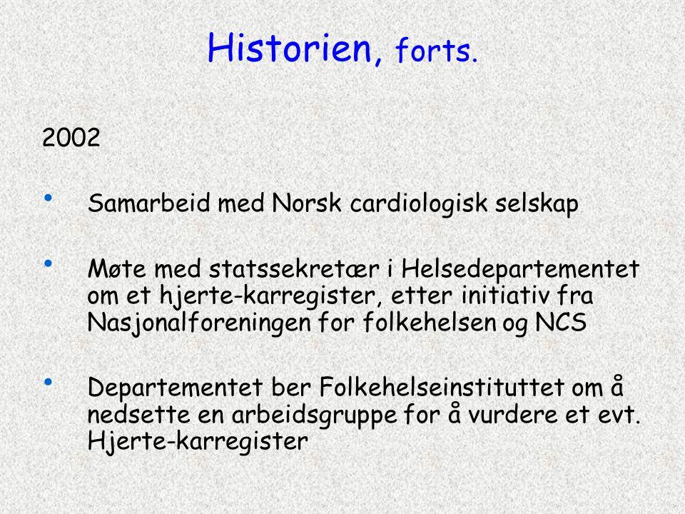 Historien, forts. 2002 Samarbeid med Norsk cardiologisk selskap