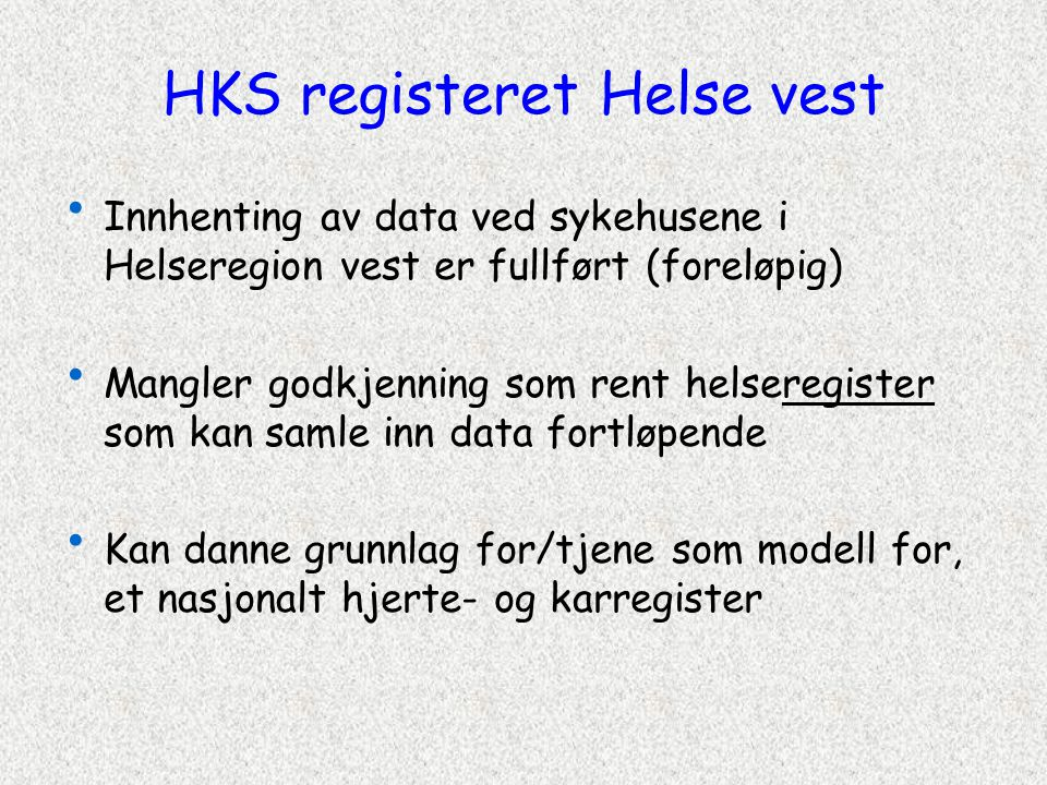 HKS registeret Helse vest
