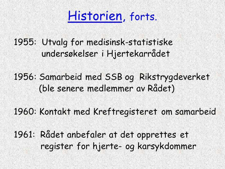 Historien, forts. 1955: Utvalg for medisinsk-statistiske