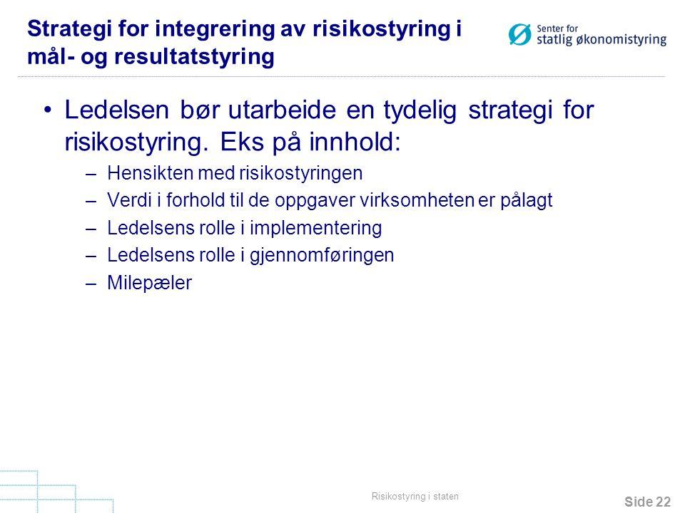 Strategi for integrering av risikostyring i mål- og resultatstyring