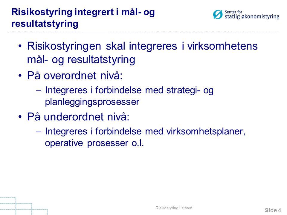 Risikostyring integrert i mål- og resultatstyring