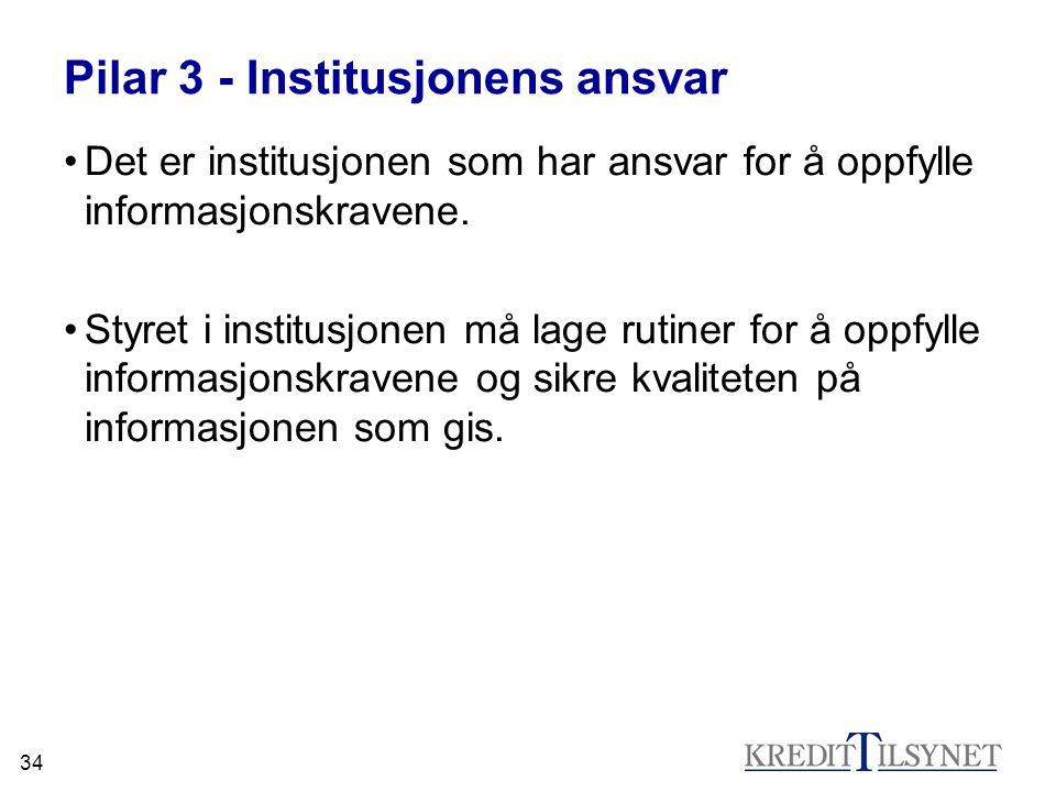 Pilar 3 - Institusjonens ansvar