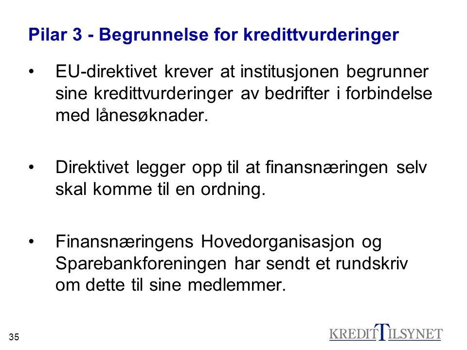 Pilar 3 - Begrunnelse for kredittvurderinger