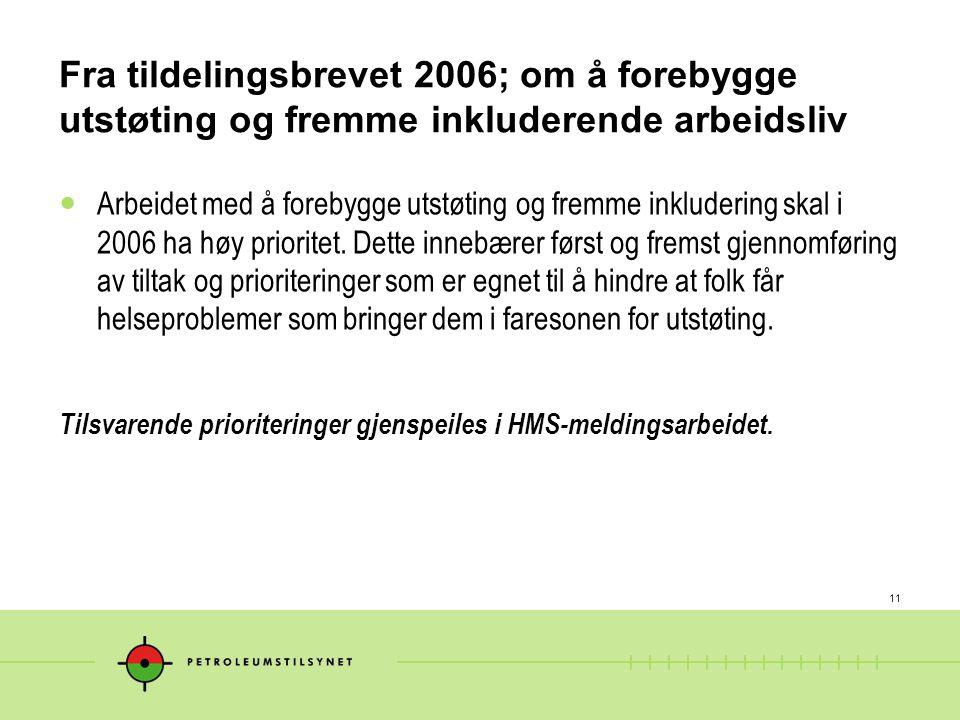 Fra tildelingsbrevet 2006; om å forebygge utstøting og fremme inkluderende arbeidsliv