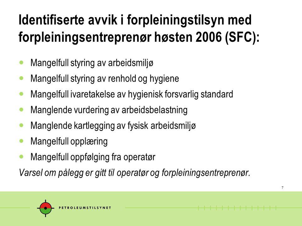 Identifiserte avvik i forpleiningstilsyn med forpleiningsentreprenør høsten 2006 (SFC):