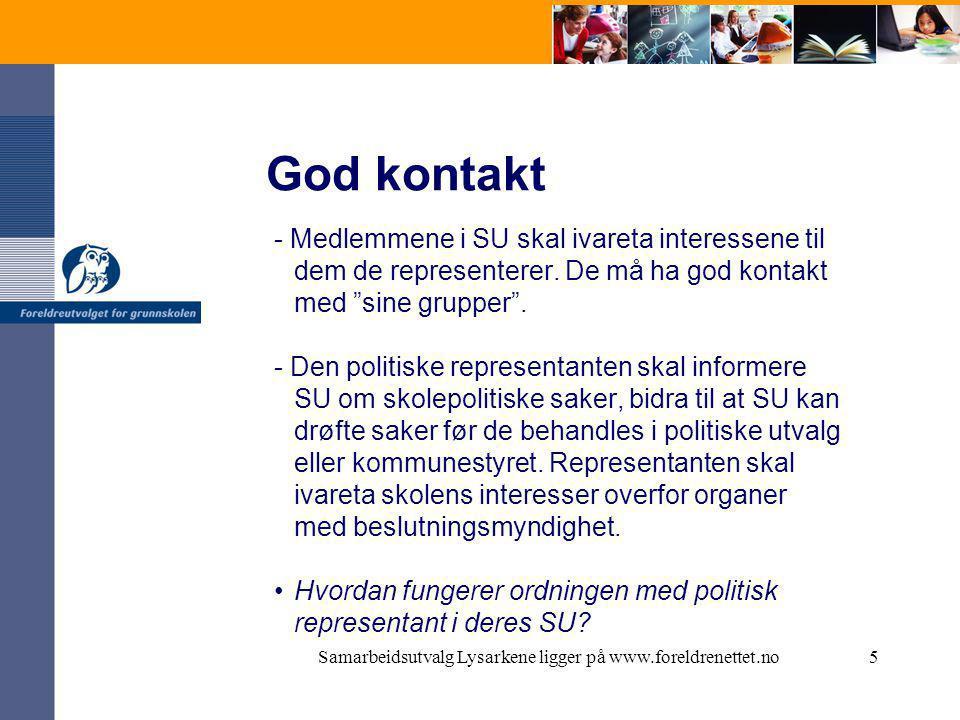 Samarbeidsutvalg Lysarkene ligger på www.foreldrenettet.no