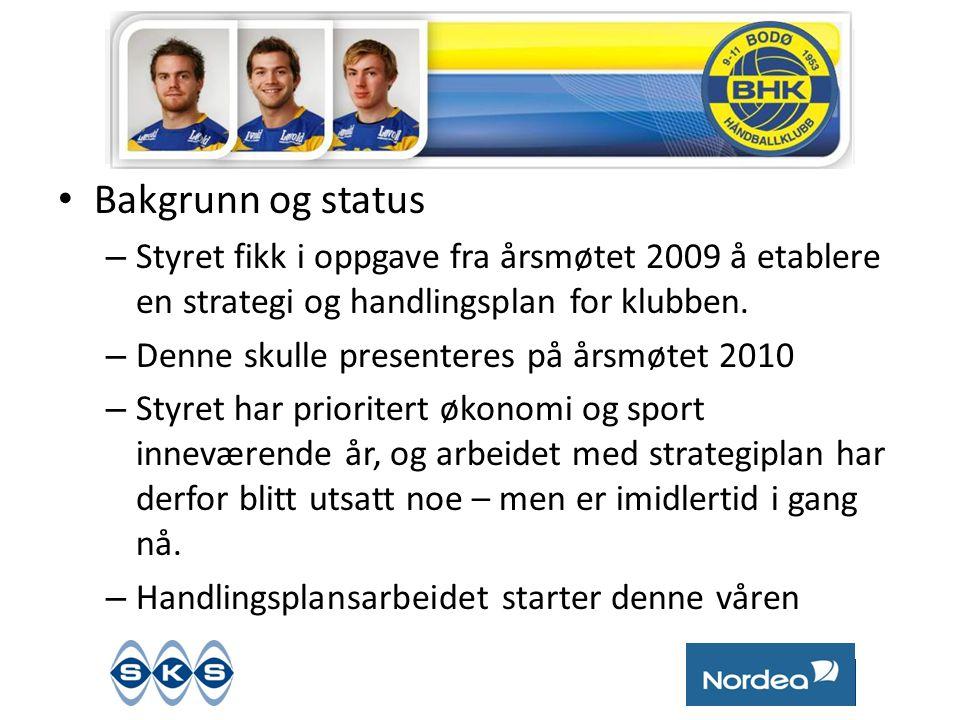Bakgrunn og status Styret fikk i oppgave fra årsmøtet 2009 å etablere en strategi og handlingsplan for klubben.