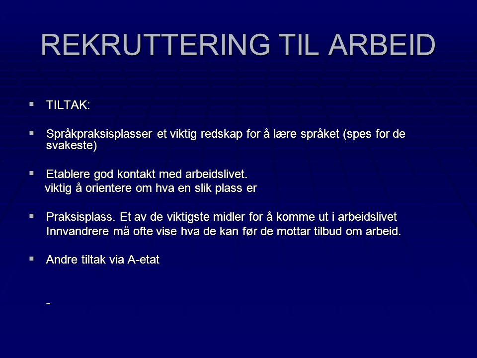 REKRUTTERING TIL ARBEID