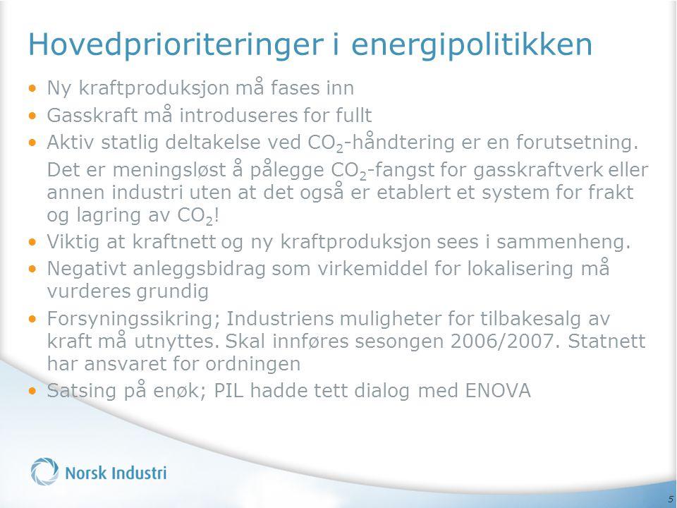 Hovedprioriteringer i energipolitikken