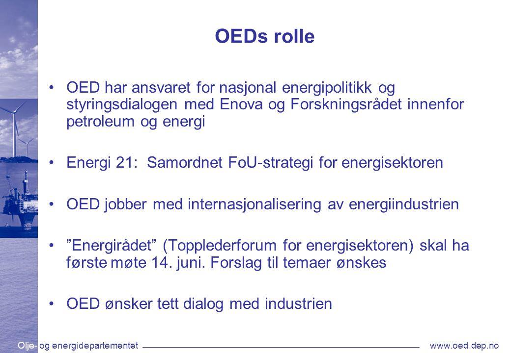 OEDs rolle OED har ansvaret for nasjonal energipolitikk og styringsdialogen med Enova og Forskningsrådet innenfor petroleum og energi.