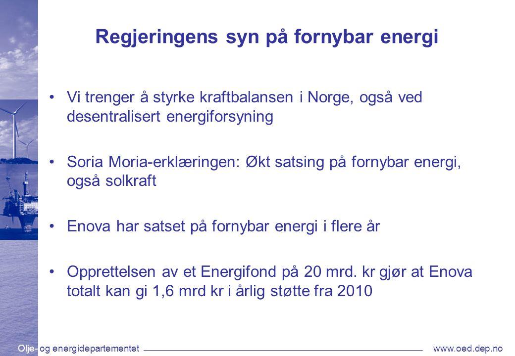 Regjeringens syn på fornybar energi