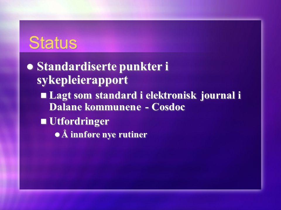 Status Standardiserte punkter i sykepleierapport