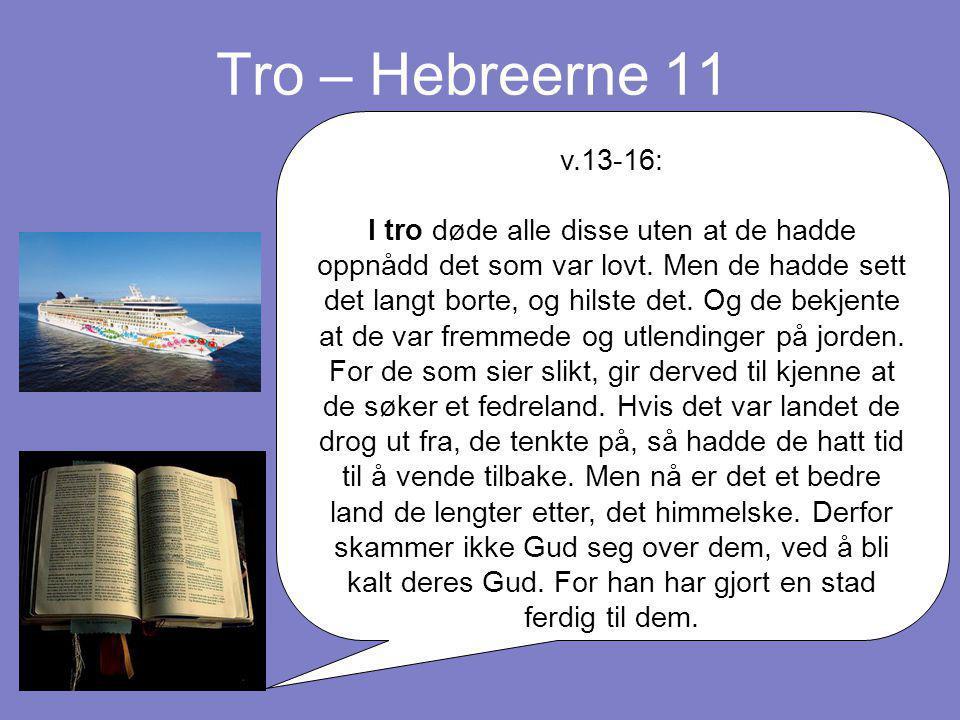 Tro – Hebreerne 11 v.13-16: