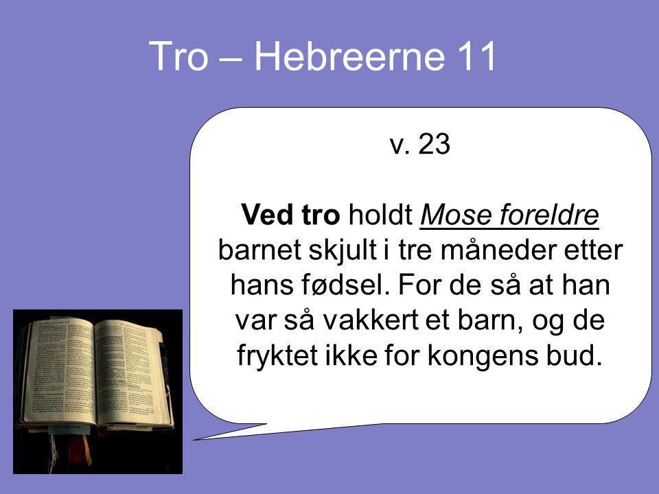 Tro – Hebreerne 11 v. 23.