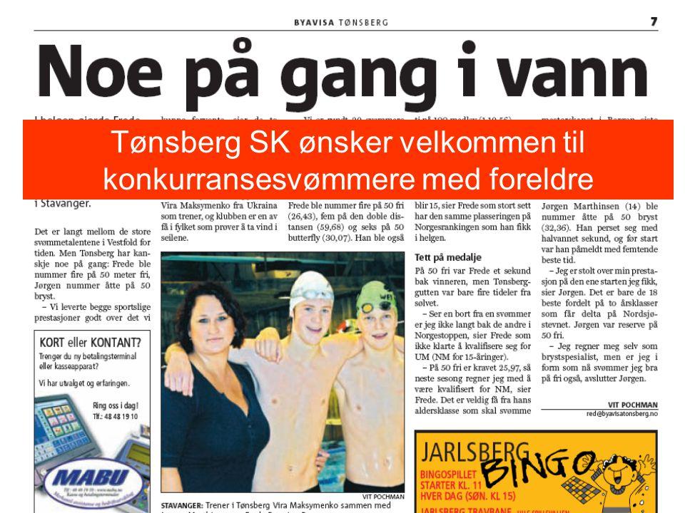 Tønsberg SK ønsker velkommen til konkurransesvømmere med foreldre
