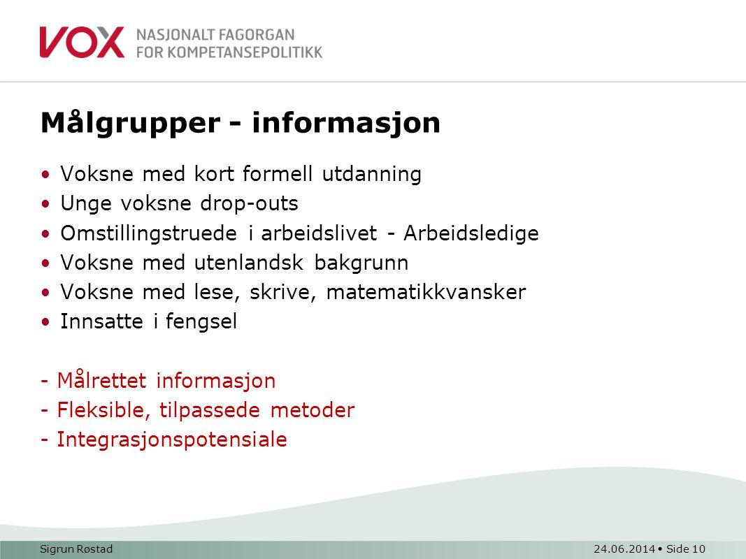 Målgrupper - informasjon