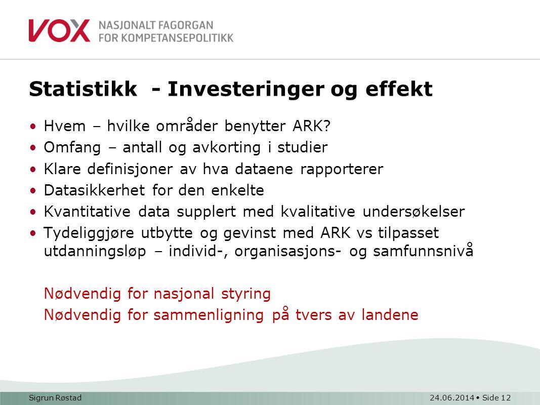 Statistikk - Investeringer og effekt