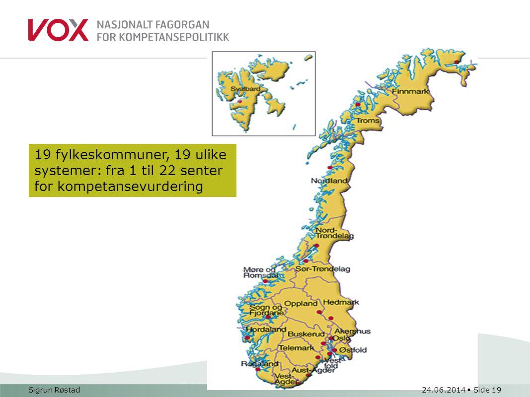 19 fylkeskommuner, 19 ulike systemer: fra 1 til 22 senter for kompetansevurdering