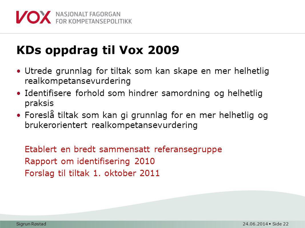 KDs oppdrag til Vox 2009 Utrede grunnlag for tiltak som kan skape en mer helhetlig realkompetansevurdering.
