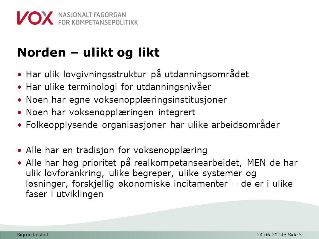 Norden – ulikt og likt Har ulik lovgivningsstruktur på utdanningsområdet. Har ulike terminologi for utdanningsnivåer.