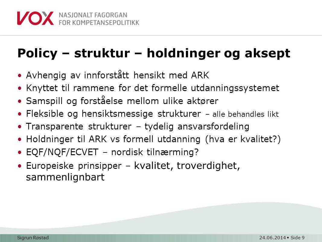 Policy – struktur – holdninger og aksept