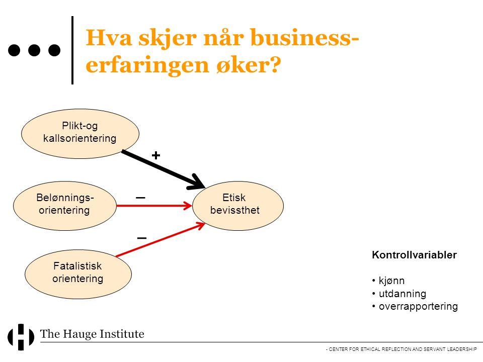 Hva skjer når business-erfaringen øker