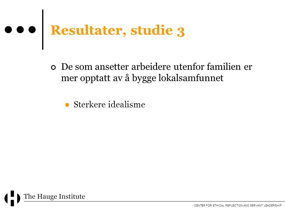 Resultater, studie 3 De som ansetter arbeidere utenfor familien er mer opptatt av å bygge lokalsamfunnet.