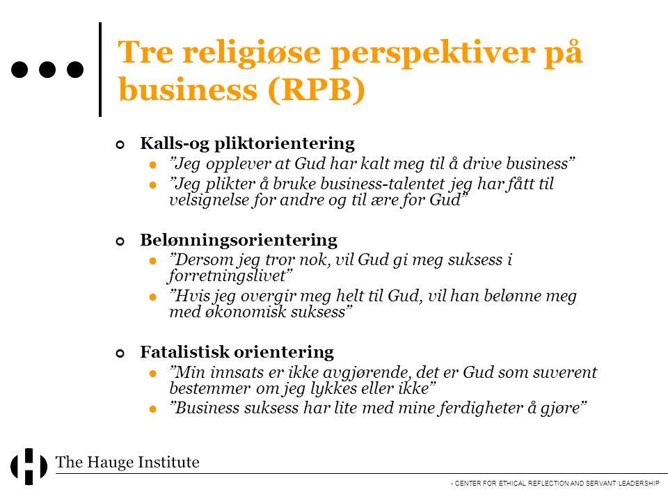 Tre religiøse perspektiver på business (RPB)
