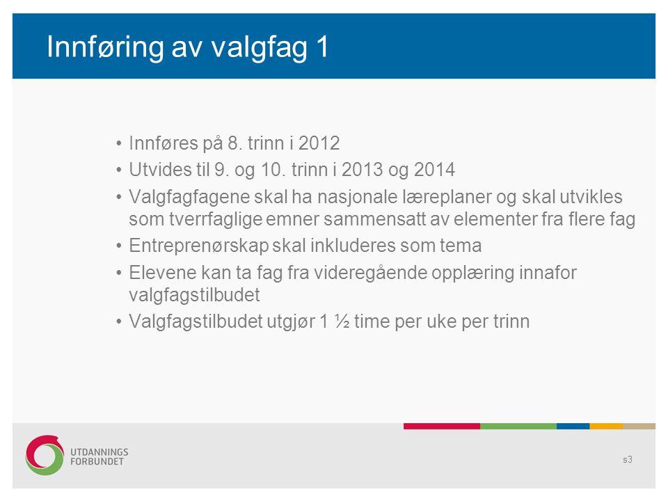 Innføring av valgfag 1 Innføres på 8. trinn i 2012