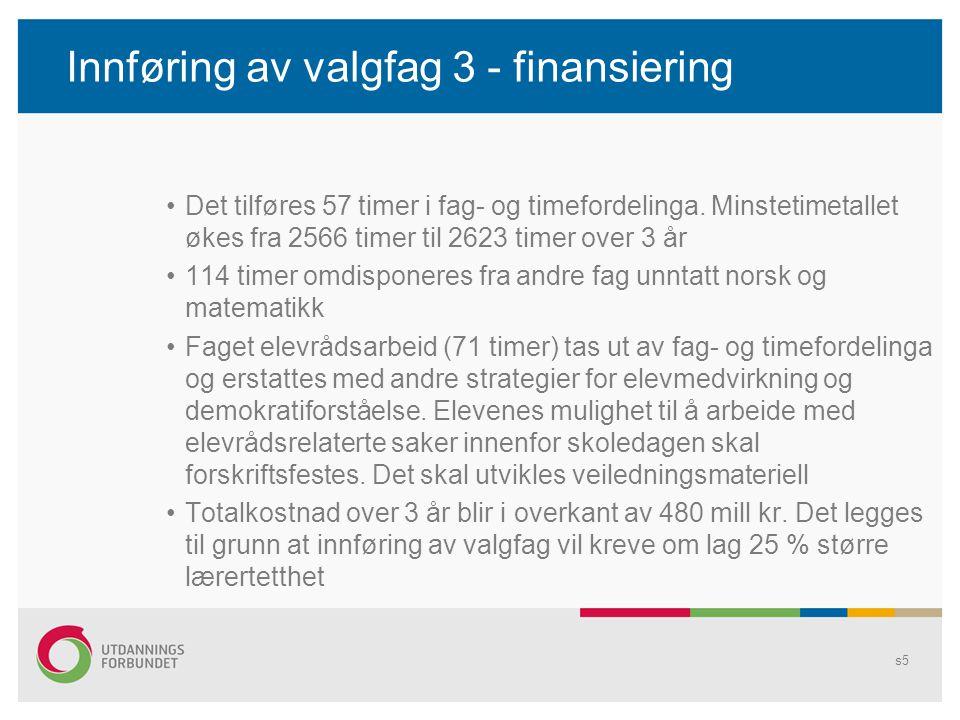 Innføring av valgfag 3 - finansiering