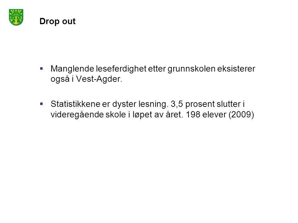 Drop out Manglende leseferdighet etter grunnskolen eksisterer også i Vest-Agder.