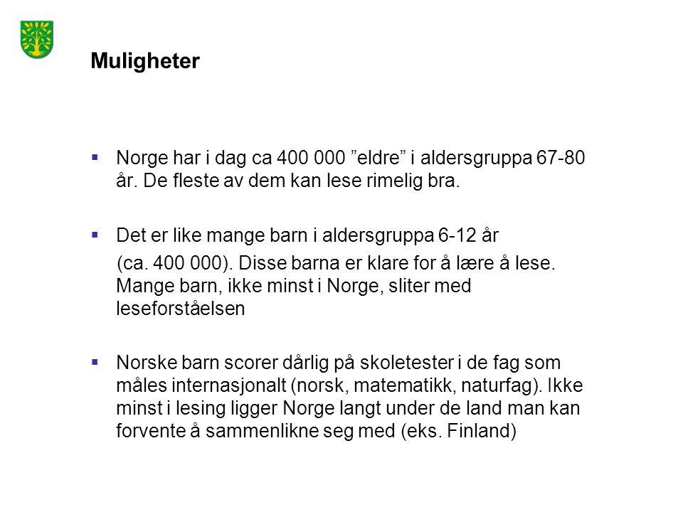 Muligheter Norge har i dag ca 400 000 eldre i aldersgruppa 67-80 år. De fleste av dem kan lese rimelig bra.