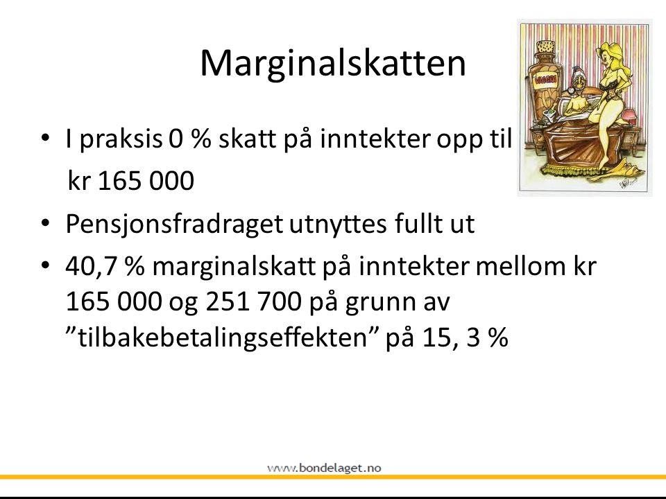Marginalskatten I praksis 0 % skatt på inntekter opp til kr 165 000