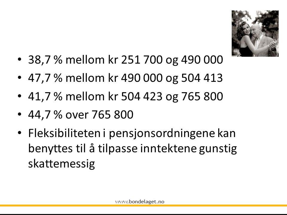 38,7 % mellom kr 251 700 og 490 000 47,7 % mellom kr 490 000 og 504 413. 41,7 % mellom kr 504 423 og 765 800.