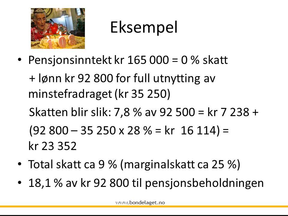 Eksempel Pensjonsinntekt kr 165 000 = 0 % skatt