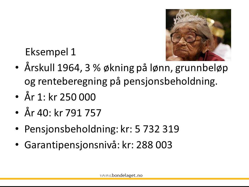 Eksempel 1 Årskull 1964, 3 % økning på lønn, grunnbeløp og renteberegning på pensjonsbeholdning. År 1: kr 250 000.