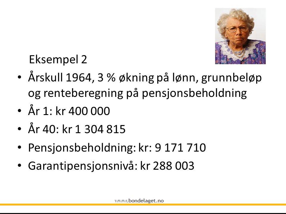 Eksempel 2 Årskull 1964, 3 % økning på lønn, grunnbeløp og renteberegning på pensjonsbeholdning. År 1: kr 400 000.