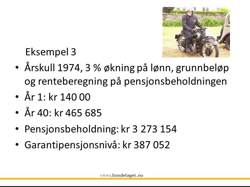 Eksempel 3 Årskull 1974, 3 % økning på lønn, grunnbeløp og renteberegning på pensjonsbeholdningen. År 1: kr 140 00.