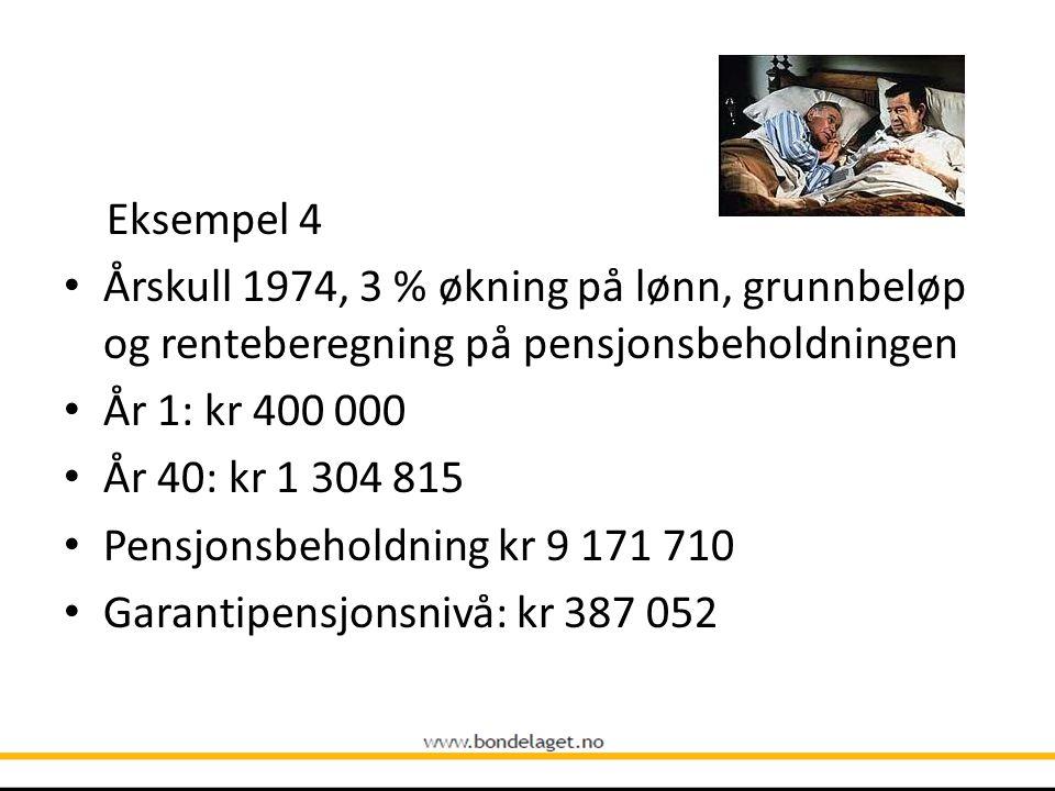 Eksempel 4 Årskull 1974, 3 % økning på lønn, grunnbeløp og renteberegning på pensjonsbeholdningen. År 1: kr 400 000.